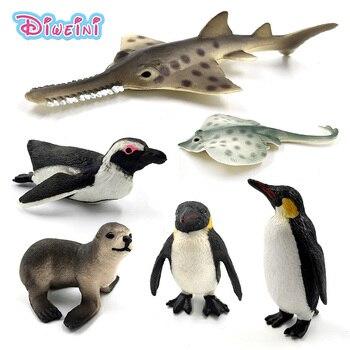 Simulation Sea Life fish Penguin Lion Fish Skate Sawfish plastic animals model fairy craft figurine Aquarium home decor toys