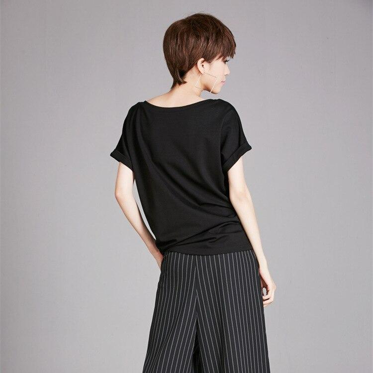 Tshirt European Split Women Style Ac8150 Shirt Summer Black Tee Slash Loose Asymsay Pleated Solid Irregular Joint Neck Tops AZqdCZvw