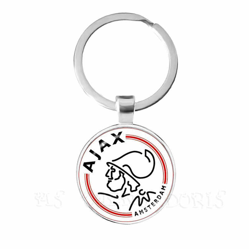 Football Club 25mm Glass Cabochon KeyChain Ajax Football Leagues Logo Soccer Club Keyring For Funs Gift