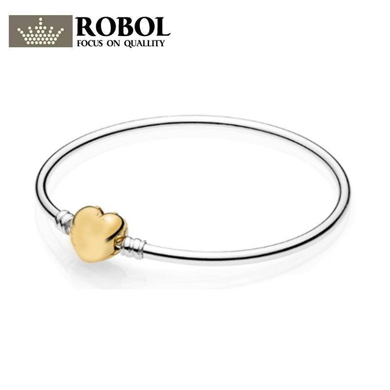 350344c8b ROBOL Pando charms silver 925 original Limited Edition Flourishing Heart  Padlock Bangle Moments exhilarating fashion bracelet