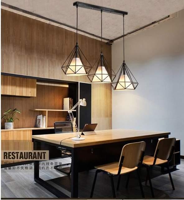 LuKLoy Modern Pendant Light Hanging Lamp Simple Frame Loft Dining Table  Living Room Bedroom Kitchen Island Lighting Fixtures Set