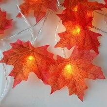 الزهور الاصطناعية 1 متر 10LED أوراق القيقب سلسلة ضوء جارلاند النباتات الاصطناعية إكليل زهور مجففة للمنزل زينة الخريف