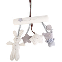Brand Baby Rattl Rabbit Baby Music Hanging Bed Safety Seat Plush Toy Hand Bell Multifunctional Plush