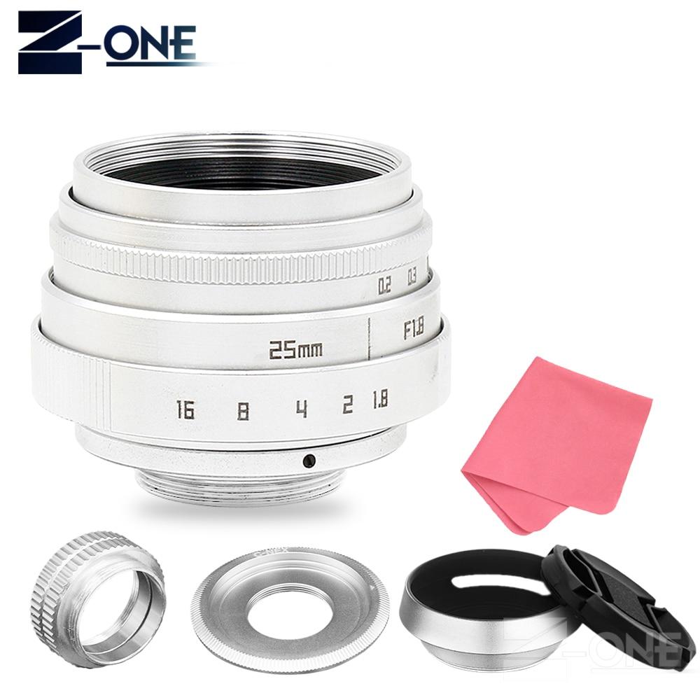 Silver 25mm F1.8 APS-C Television TV Lens CCTV Lens+hood For Sony E Mount Nex-5T Nex-F3 Nex-6 Nex-7 Nex-5R A6300 A6100 A6500