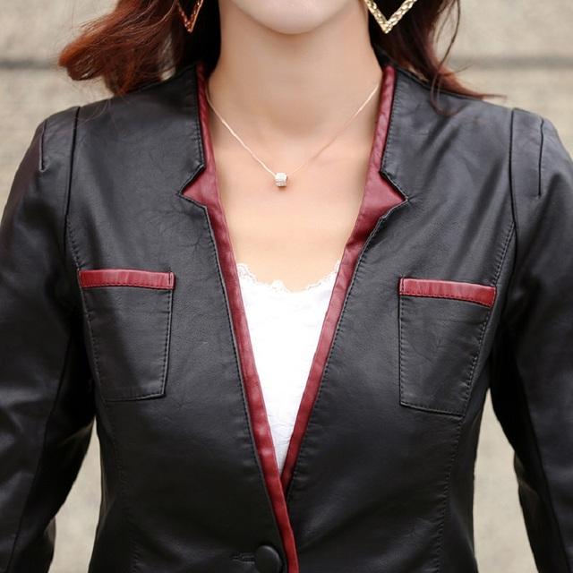 Plus size women clothing 2016 leather jacket medium-long slim red stitching leather jacket outerwear female casual jacket