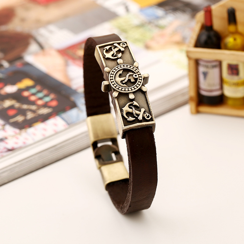 BOYULIGE Fashion Rudder Wrap Leather Chain Anchor Bracelet Punk Jewelry Coffee Men Wristband Bangle Hooks Navy Style Tennis Cuff