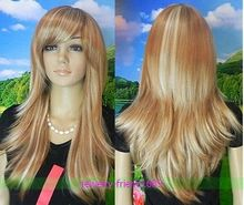Wholesale heat resistant LY free shipping LONG GOLDEN BLONDE BLONDE STRAIGHT WOMEN WIG