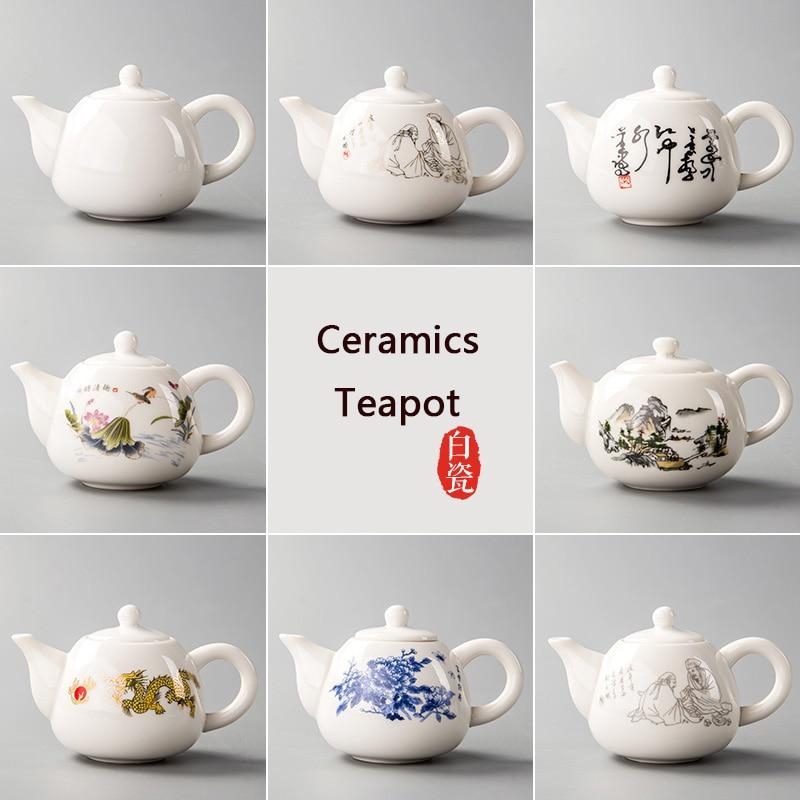 Ceramic Teapots Yixing Tea Pot White Porcelain Tea Sets Chinese Teapot Unique Kettle Kung Fu Teaset  Infuser China Tea Cups D001