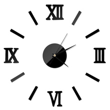 chic adhesive silver vintage roman numeral number frameless wall clock 3d home decor
