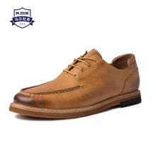 Mens Shoes Spring Genuine Leather Men Leisure men British Retro cowhide Lace-Up Business Shoes,male Dress