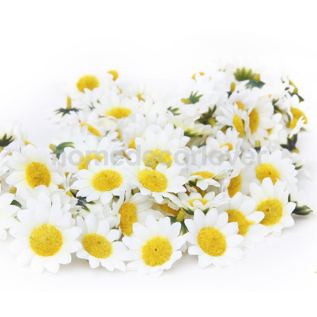 100pcs White Artificial Gerbera Daisy Head Flower Wedding Arch Door