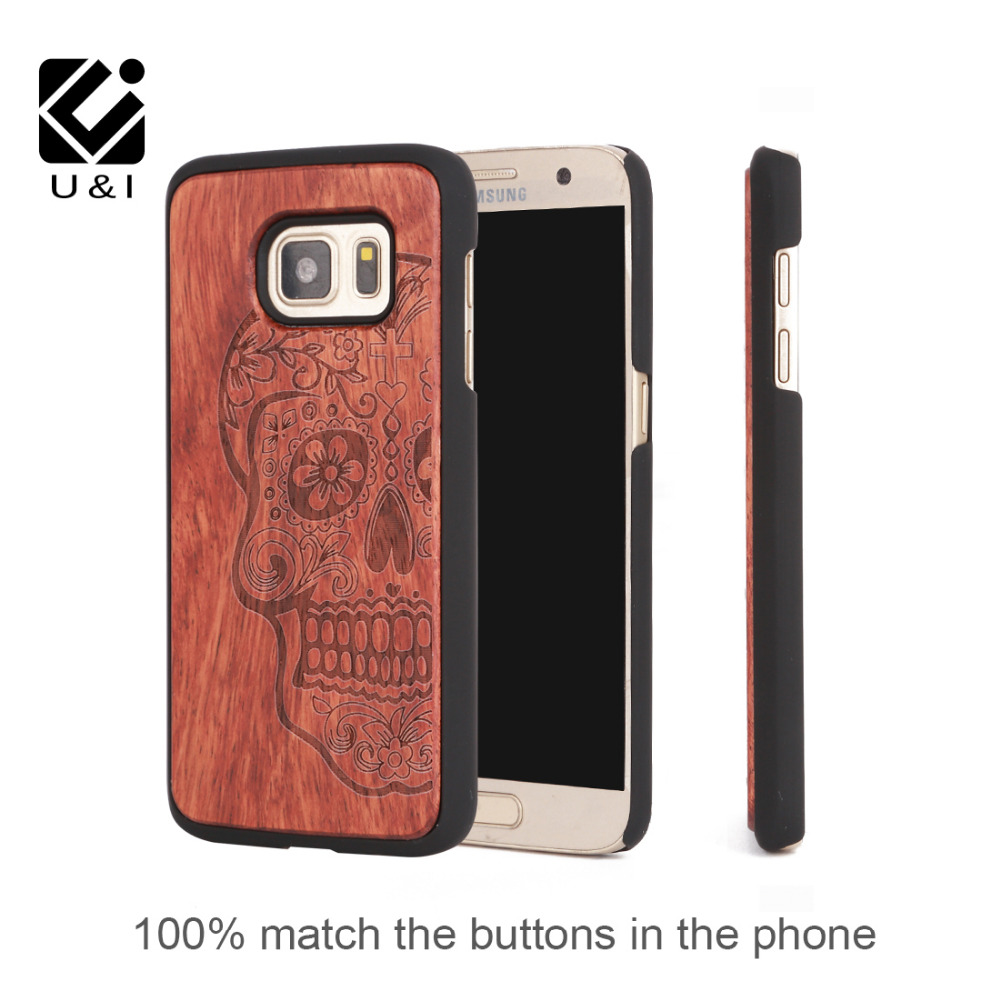 U&I Retro Skull Head, Flower Carving Wood Case for samsung galaxy s7 Novetly Wooden Hard Case Cover for samsung galaxy s7 edge