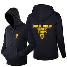 2017 gedruckt Sweatshirt neuheit Kyrie Irving Hoodies männer onkel Drew Reißverschluss herren TracksuitLong langarm-mäntel