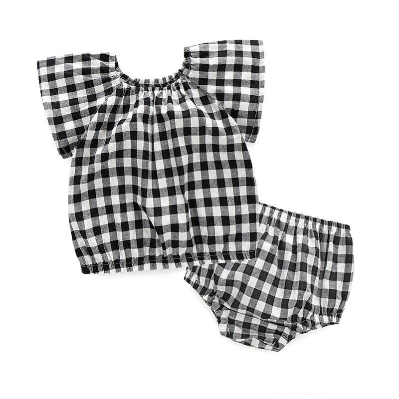c9e800eea333 New Toddler Girl Clothing Grid Girls Summer Sets 2pcs Tops+Shorts Cool Baby  Girl Clothes Fashion Roupas Infantis Menina