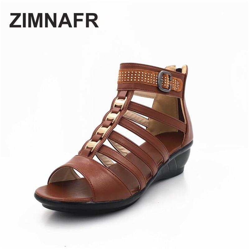 ZIMNAFR BRAND 2017 summer genuine leather Roman women sandals flat zipper casual cowhide open toe large yards female sandals