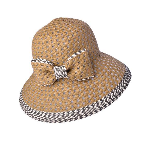 Moda sombrero de paja del Sol de verano Bow-Tie sombrero hecho a mano para las mujeres