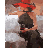Digital Oil Painting Frameless Pictures By Number Red Wine Girl Art Home Decoration Wall Canvas Painting
