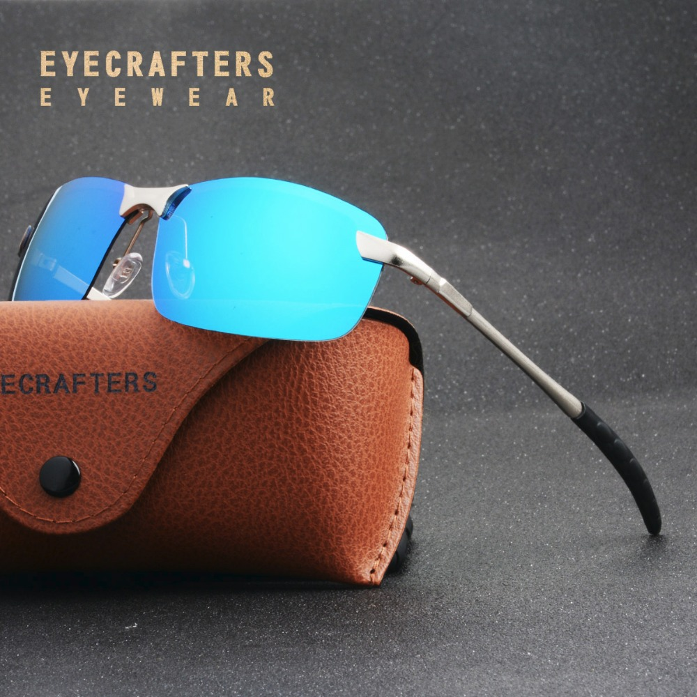 Blue Mens UV400 Polarized Sunglasses Sports Driving Mirrored Sunglasses Rimless Metal Glasses Eyewear 3043DM