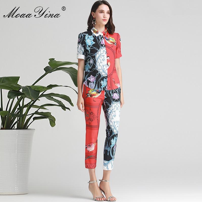 MoaaYina Fashion Designer Set Summer Women Short sleeve mandarin duck Beading Print Shirt Tops Pencil pants