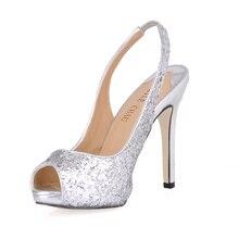 Sexy Glitter Bridals Party Peep Toe Slingback Stiletto Women Pumps Chaussure Escarpins Femmes Bout Ouvert Soiree Mariage Fete S2 шапка fete fete fe009cwxrb85