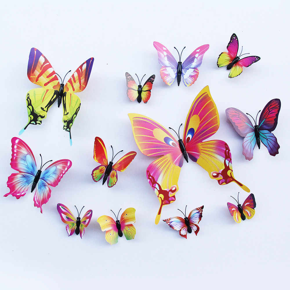 12pcs/lot mariposas decorativas 3d PVC DIY Wall Sticker Art Decal Mural muurstickers stickers baby room butterfly decoration
