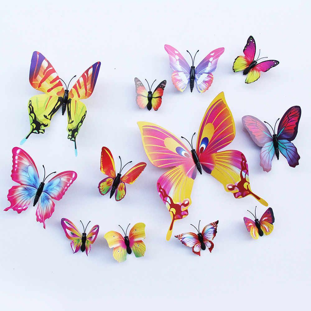 12 cái/lốc mariposas decorativas 3D PVC Dán Tường Dán Nghệ Thuật Decal Bức Tranh Tường muurstickers dán phòng cho bé bướm trang trí