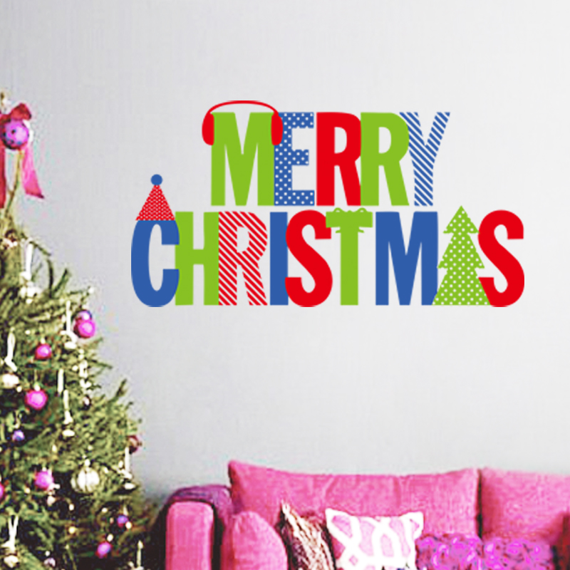Merry Christmas Happy New Year Words wall sticker home decor shop ...