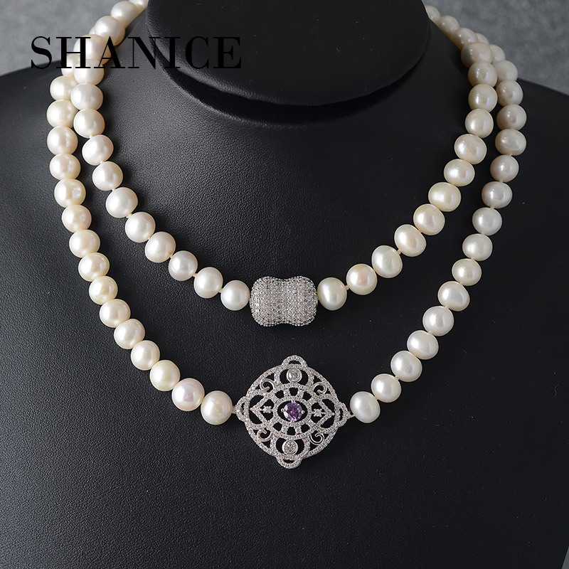 SHANICE new natural freshwater pearl necklace wedding for women long big white pearl necklace jewelry fasion for girl gifts