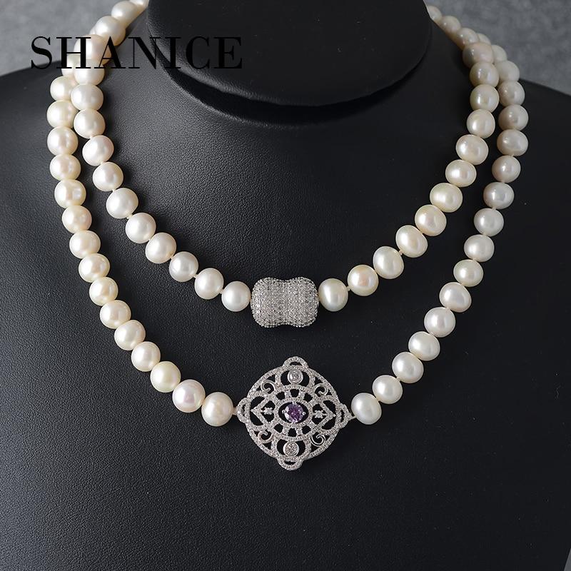 SHANICE nouveau naturel d'eau douce collier de perles de mariage pour les femmes long grand blanc perle collier bijoux fasion pour fille cadeaux
