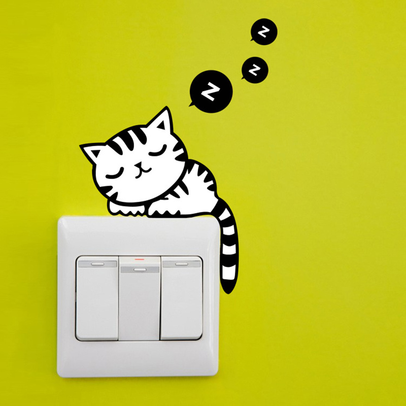 DIY Funny Cute Black Cat Animls Switch Decal Wall Stickers Home Decals Bedroom Kids Room Light Parlor Decor