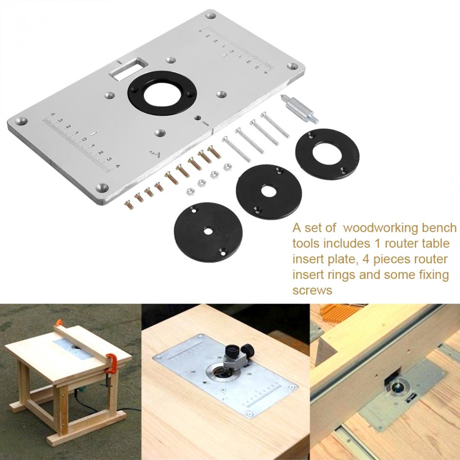 Aluminum alloy router table insert plate woodworking benches w 4pcs 1 router table insert plate 4 router insert rings in which 1 piece of ring is in the plate 1 pack of fixing screws greentooth Gallery