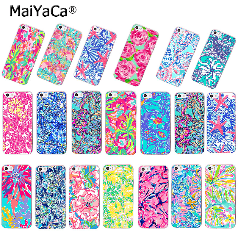 the latest dc7f1 12bdd US $1.32 49% OFF|MaiYaCa Lilly Pulitzer best Summer blue pink yellow  flowers Beautiful Phone Case for iPhone 8 7 6S Plus X 5S SE 5C case  Cover-in ...