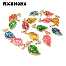 2019 New Fashion 10pieces/bag Beautiful Cute Sweet Drop Oil Leaves Zinc Alloy Charms for Earring Necklace Jewelry Accessories
