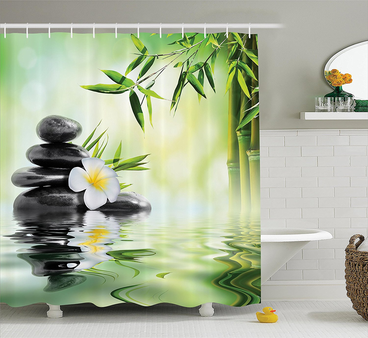 Beautiful White SPA Bamboo Relaxing Shower Curtain Polyester Fabric Waterproof