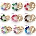 12 colores para elegir Caliente Mommy joyería bebé de juguete de madera ganchillo juguete de enfermería-dentición del bebé crochet Primavera color de la luz NT037