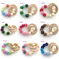 12 colors to choose Hot wooden toy Mommy jewelry baby Crochet nursing toy - teething baby crochet  Spring light  color NT037
