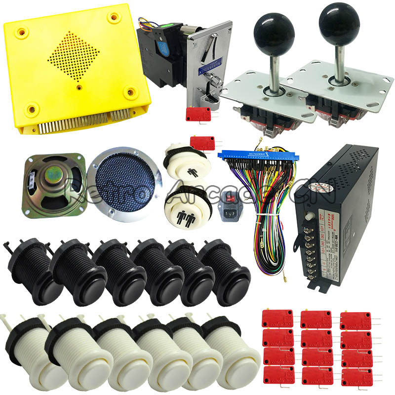 Pandora 999 in 1 kit with game board coin selector power supply  jamma harness joystick button for DIY 2 players arcade machinePandora 999 in 1 kit with game board coin selector power supply  jamma harness joystick button for DIY 2 players arcade machine