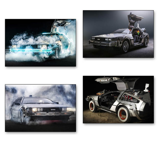 US $4.37 19% OFF|DIY frame 4 PCS CHOOSE Back to the Future Movie DeLorean supercar Wall Decor Posters Art Silk Fabric Combination Poster Printing in