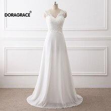 Doragrace Simple Elegant V-Neck Sleeveless Lace Chiffon A-Line Wedding Dresses