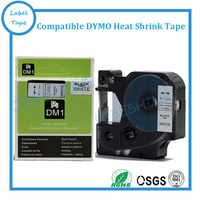 12mm*2.5m compatible for SKU18055 Dymo Rhino Heat Shrink Tubes 1/2 RS7W black on white