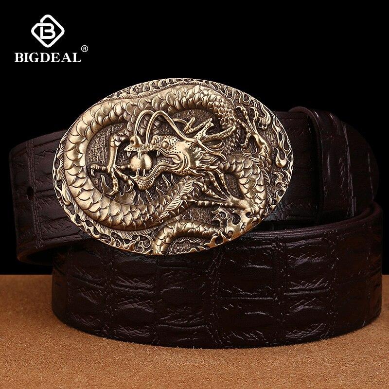 BIGDEAL Men Belts Vintage Top Genuine Leather Belt For Mens Cowhide Belts With Buckle Black Palm Red Coffee