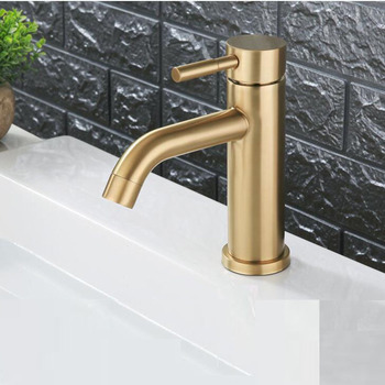 304 Stainless Steel Brushed Gold Round Style Basin Water Tap Bathroom Faucet Single Hole Long Mouth Hot and Cold Water Mixer