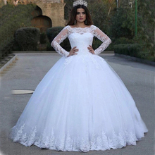 Vintage Ball Gown Wedding Dress 2019 Princess Style Long Sleeve Lace Appliques Bride Dress Custom Made Wedding Gowns