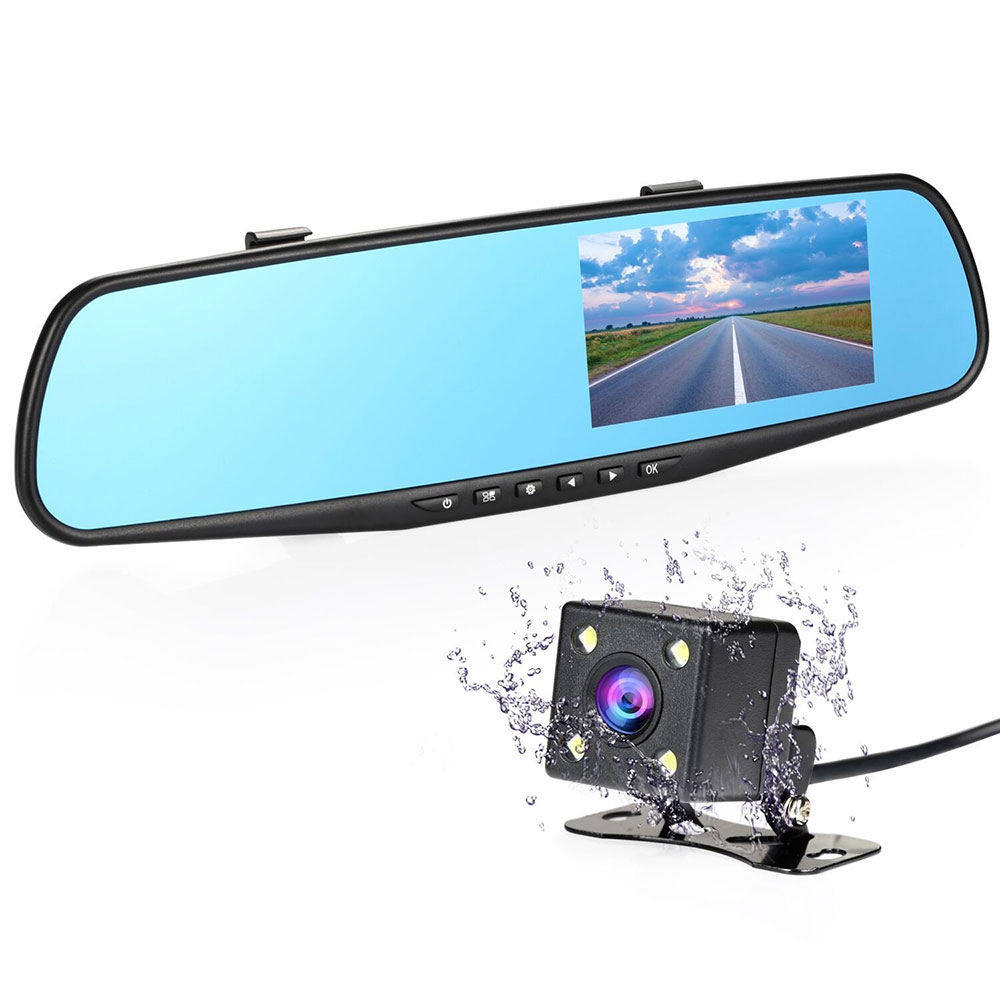 Full HD 1080P Car DVR 4.3'' Dual Lens Dash Cam Night vision Car Camera Rearview Mirror Vehicle Traveling Data Recorder G-sensor