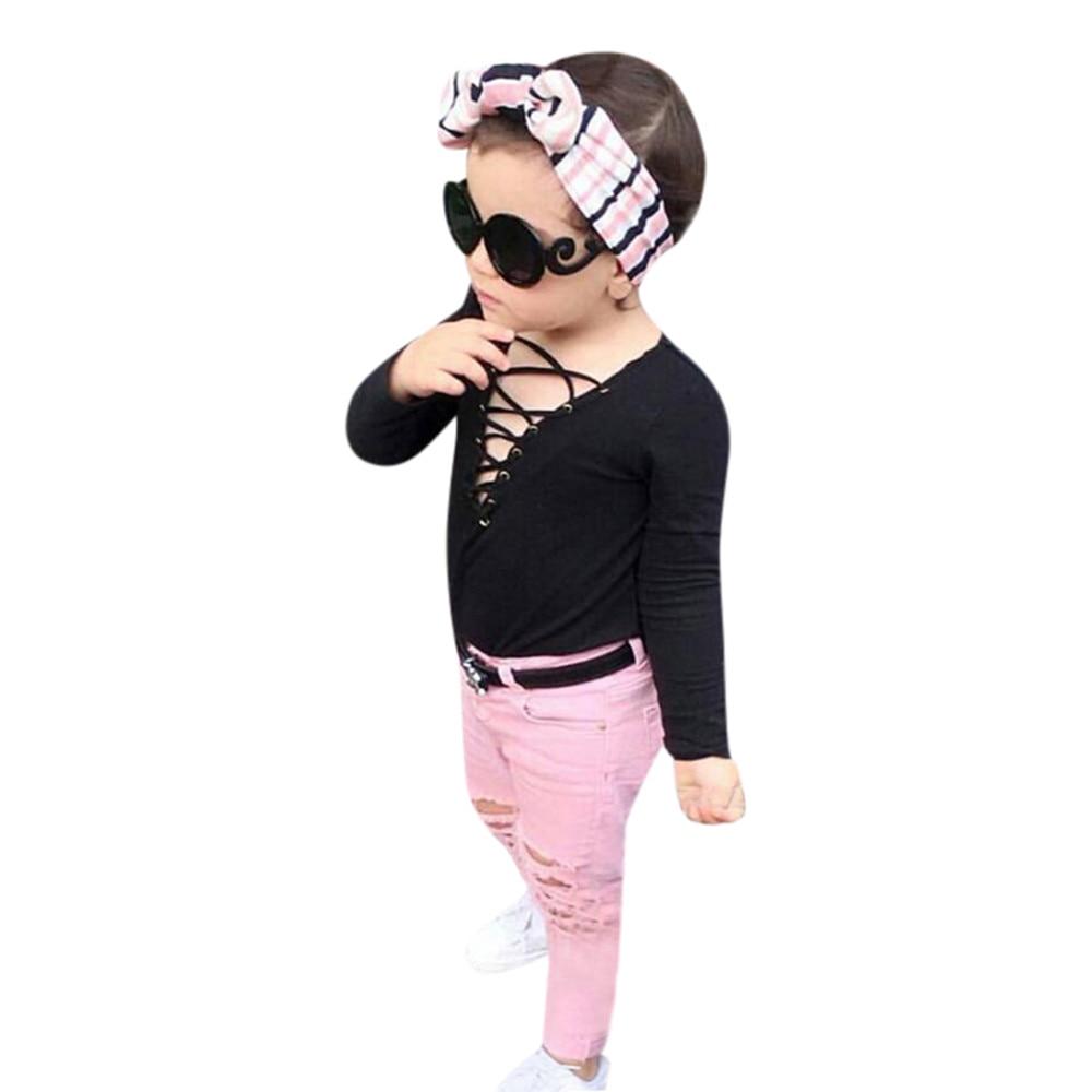 Kids Clothes Sets Baby Girls Solid Pink Strap Tops Fashion Jeans Pants 2Pcs Suit Outfits Set Roupa Infantil @6115 off shoulder tops t shirts denim pants hole jeans 3pcs outfits set clothing fashion baby kids girls clothes sets