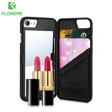 FLOVEME Makeup Mirror Flip Cases For iPhone 7 Plus Card Slot Phone Case 6 6s 8 X Xr Xs Max Cover Funda Coque