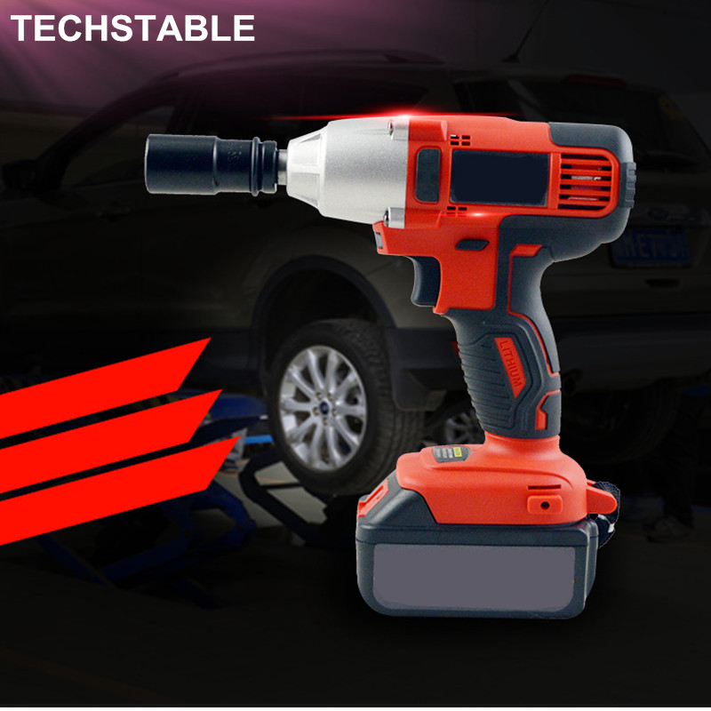 TECHSTABLE Brushless Electric Wrench Rechargeable Lithium Electric Shelf Wrench Car Maintenance Hand Drill Impact Wrench