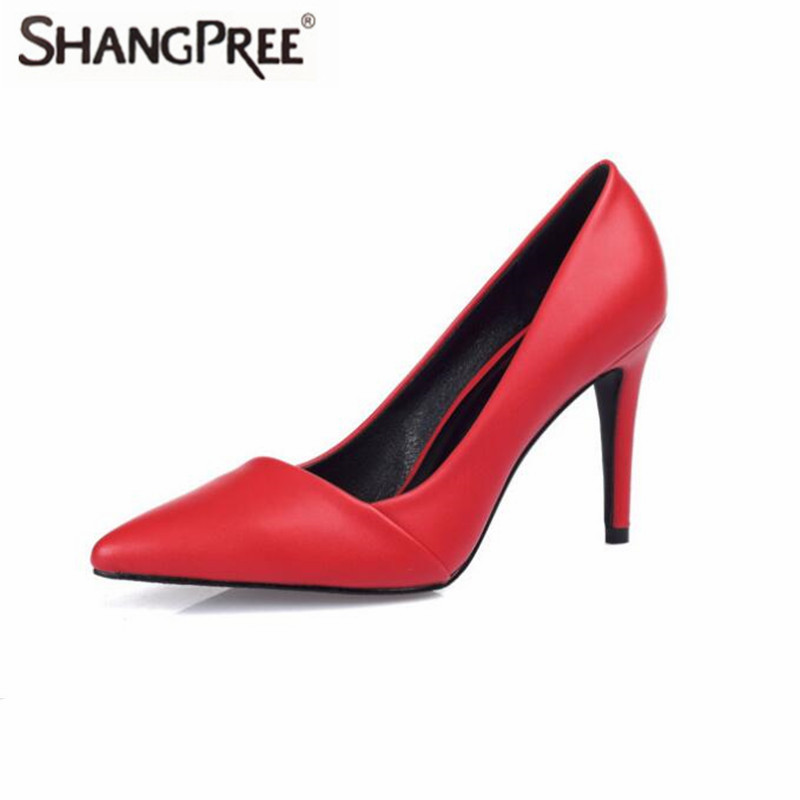 Classic Genuine Leather High quality Woman High Heels Pumps Red High Heels Women Shoes Wedding Shoes Pumps Black Nude Heels 2018the new women s patent leather and shoes classic korean version of the classic korean shoes red wedding shoes