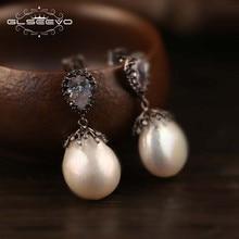 hot deal buy glseevo s925 silver ear pin natural fresh water baroque pearl drop earrings women wedding dangle earrings fine jewelry ge0334