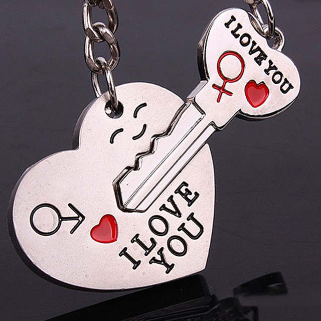 a890596c4a Hot Sale Zinc Alloy Silver Plated Lovers Gift Wedding Favors Couple My Heart  Keychain Fashion Keyring